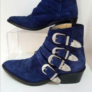 Toga pulla rare blue seude 4 buckle boots sz 39.